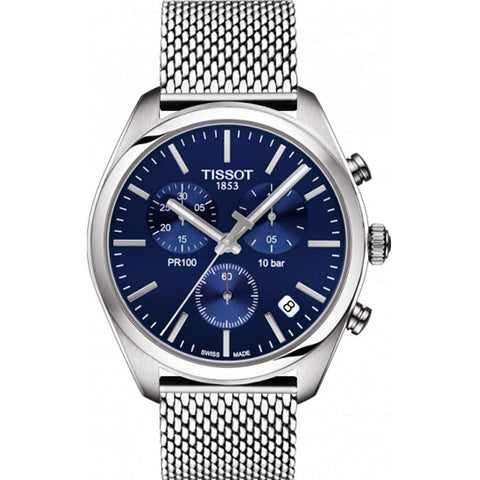 Men's Silver Stainless Steel & Blue Mesh PR100 Chronograph Tissot Watch T101.417.11.041.00