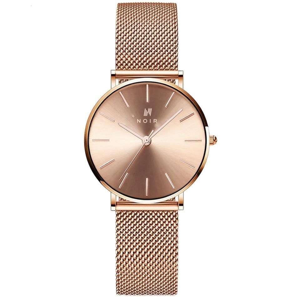 Ladies Rose Gold Stainless Steel Noir Designer Fashion Watch Visage Dor
