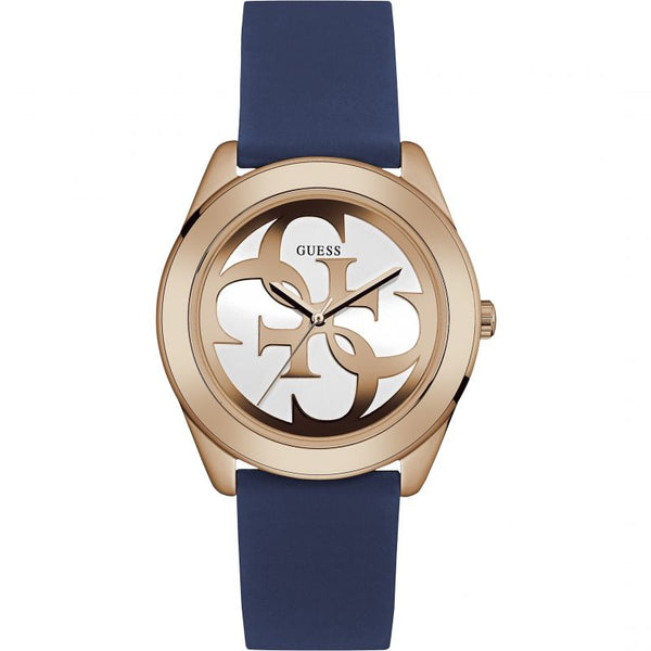 Ladies Blue G-Twist Rubber Analogue Guess Watch W0911L6