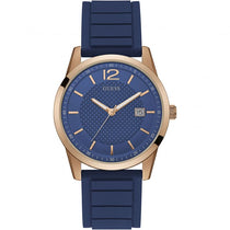 Men's Blue Perry Rubber Analogue Guess Watch W0991G4
