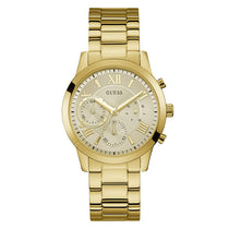 Ladies Gold Solar Stainless Steel Analogue Guess Watch W1070L2
