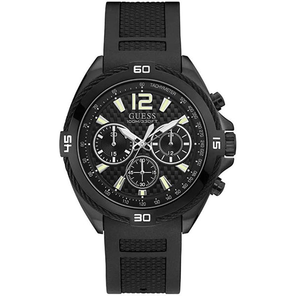 Men's Black Surge Rubber Analogue Guess Watch W1168G2