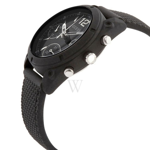 Ladies Black Classic Rubber Chronograph Guess Watch W1296L2