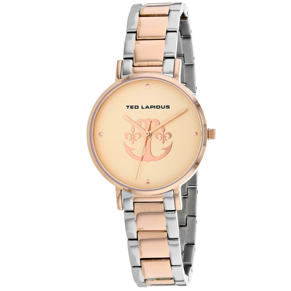 Ladies Rose Gold-Silver Classic Stainless Steel Analogue Ted Lapidus Watch A0742YRPX