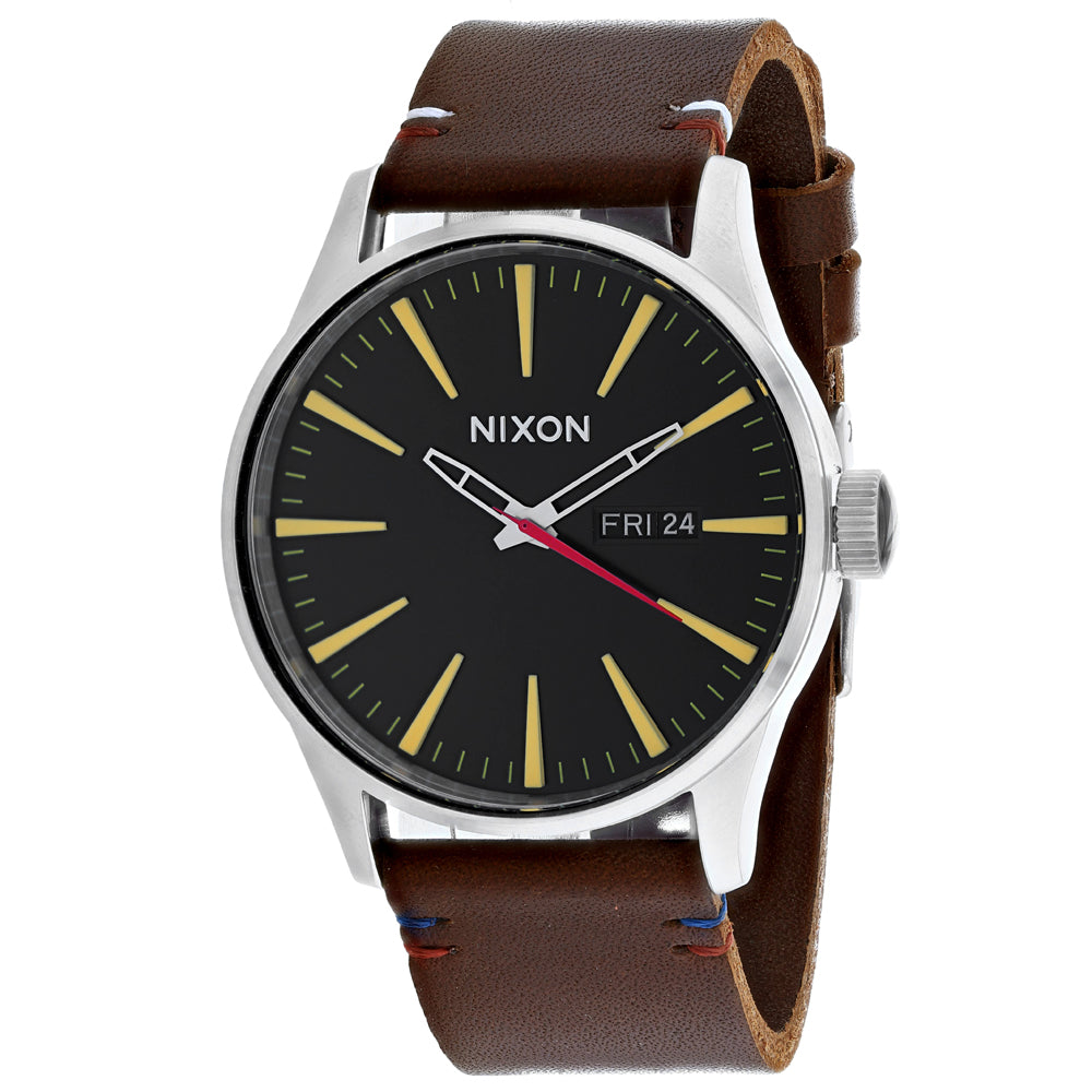 Men's Brown Sentry Leather Leather Analogue Nixon Watch A105-019