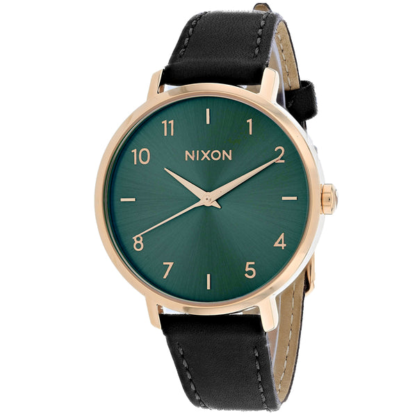 Ladies Black Arrow Leather Leather Analogue Nixon Watch A1091-2805