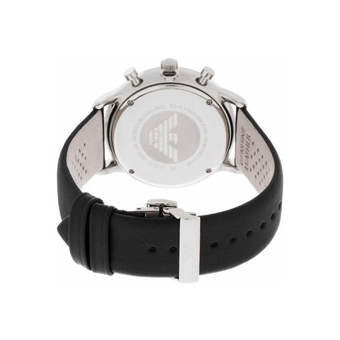 Men's Gianni Black Leather Strap Emporio Armani Watch AR0397