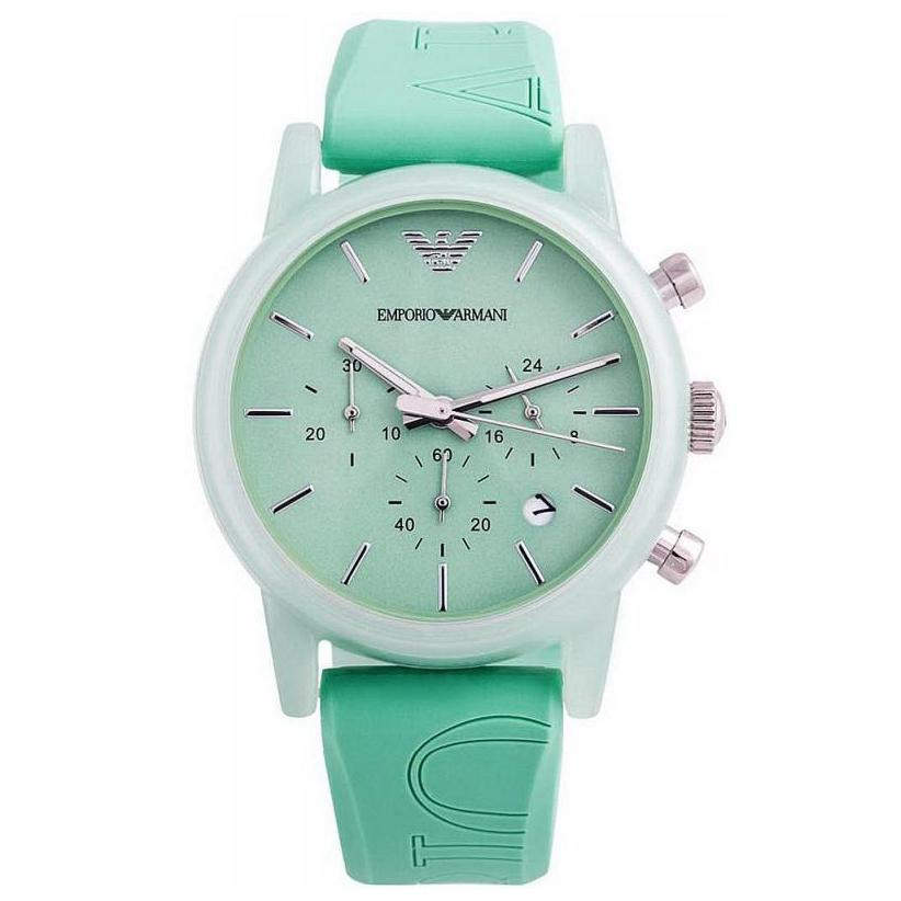 Ladies Green Rubber Chronograph Strap Emporio Armani Watch AR1057