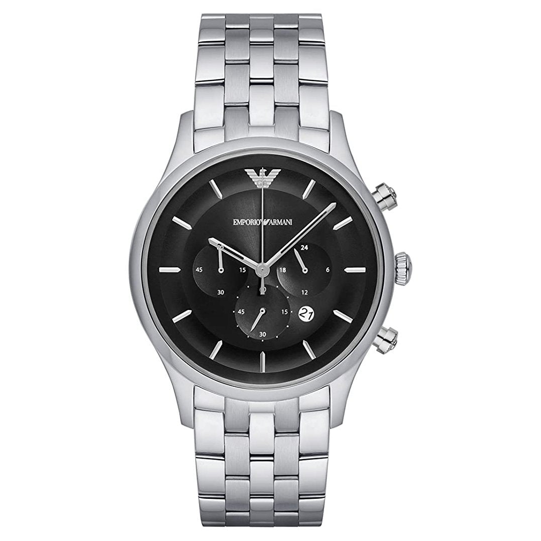 Men's Black Dial Stainless Steel Chronograph Emporio Armani Watch AR11017