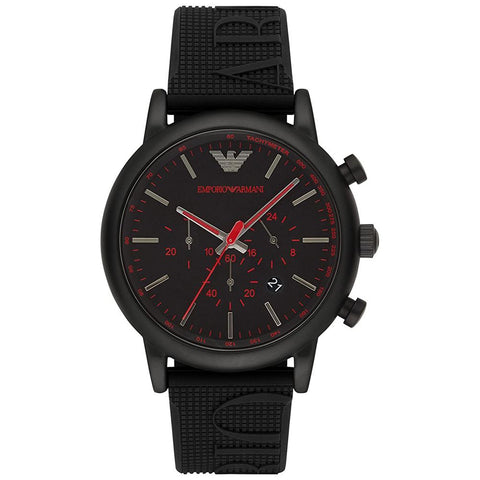 Men's Luigi Black Rubber Chronograph Emporio Armani Watch AR11024