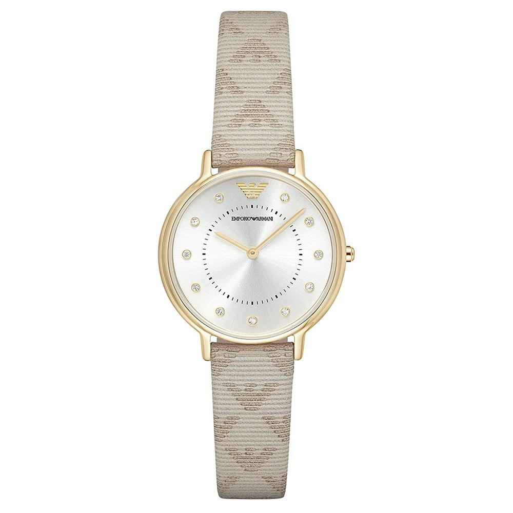Ladies Beige Branded Leather Strap Emporio Armani Watch AR11042