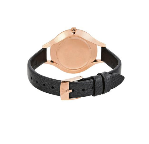 Ladies Aurora Black Leather Strap Emporio Armani Watch AR11056