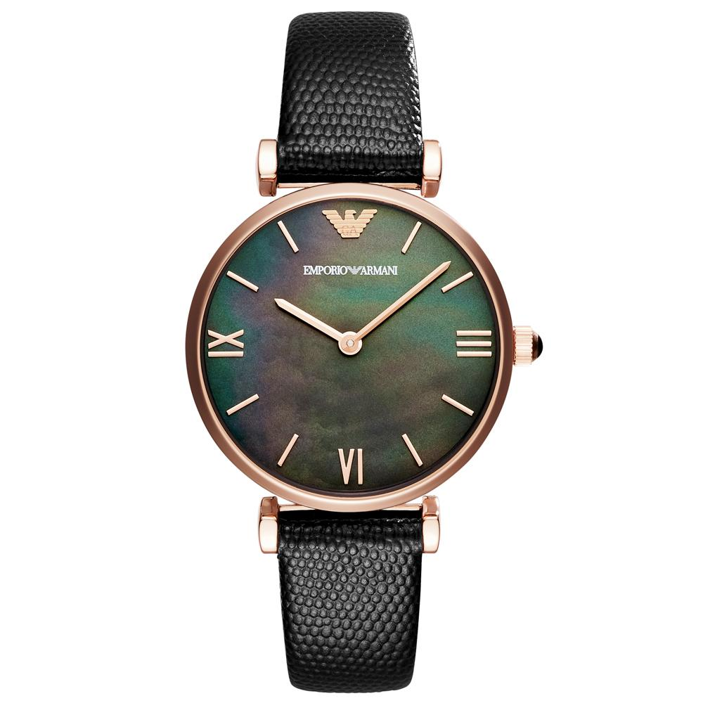 Ladies Black Leather Mother of Pearl Emporio Armani Watch AR11060