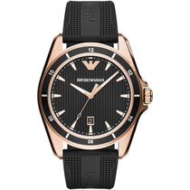 Men's Rose Gold Black Rubber Strap Emporio Armani Watch AR11101