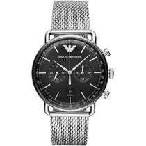 Men's Aviator Silver Stainless Steel Mesh Strap Emporio Armani Watch AR11104