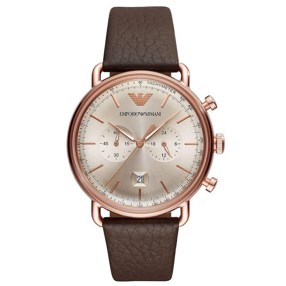 Men's Aviator Brown Leather Strap Emporio Armani Watch AR11106
