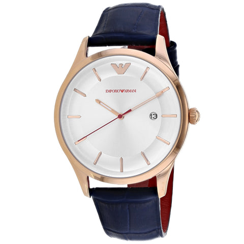 Men's Blue Classic Leather Analogue Emporio Armani Watch AR11131