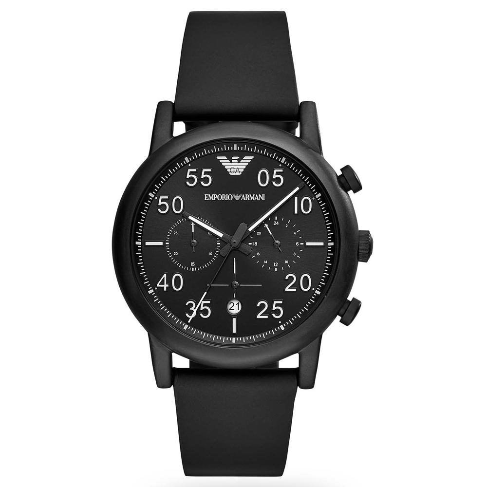 Men's Luigi Black Leather Chronograph Emporio Armani Watch AR11133