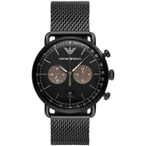 Men's Aviator Black Stainless Steel Mesh Strap Emporio Armani Watch AR11142