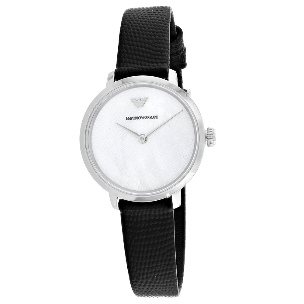 Ladies Black Leather Analogue Emporio Armani Watch AR11159