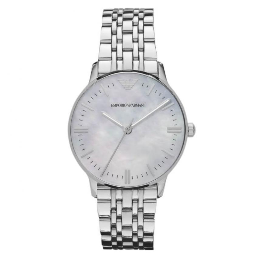 Ladies Silver Stainless Steel Mother of Pearl Emporio Armani Watch AR1602