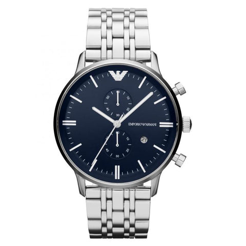Men's Silver Stainless Steel Chronograph Emporio Armani Watch AR1648