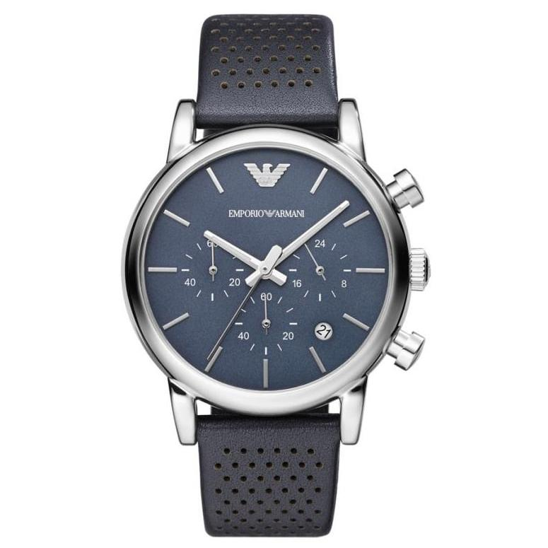 Men's Stainless Steel Blue Leather Chronograph Emporio Armani Watch AR1736