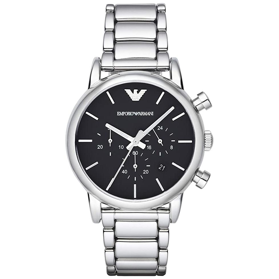 Men's Silver Stainless Steel Chronograph Emporio Armani Watch AR1853
