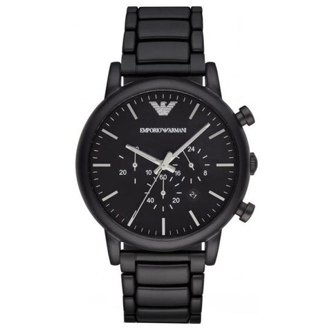 Men's Black Stainless Steel Chronograph Emporio Armani Watch AR1895