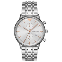 Men's Silver Tone Chronograph Emporio Armani Watch AR1933