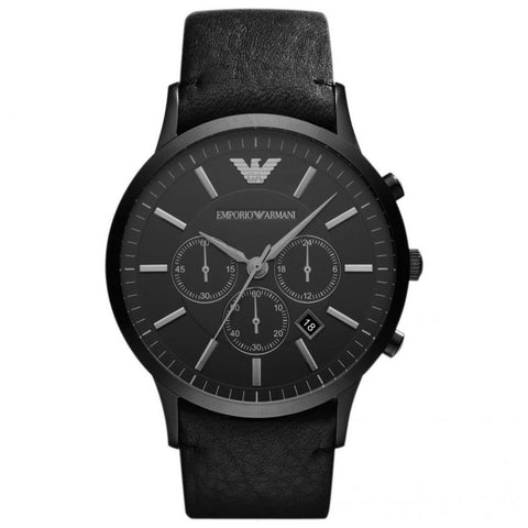 Men's Black Leather Strap Emporio Armani Watch AR2461