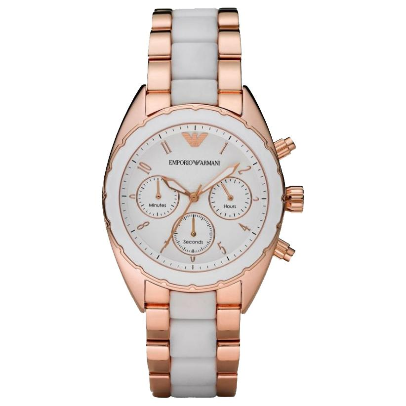 Ladies Rose Gold Stainless Steel Chronograph Emporio Armani Watch AR5942