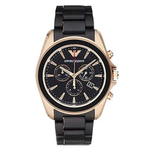 Men's Rose Gold Dials Black Rubber Strap Emporio Armani Watch AR6066