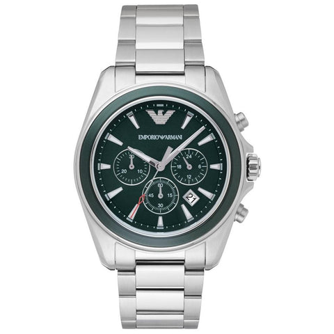 Men's Silver Stainless Steel Chronograph Emporio Armani Watch AR6090
