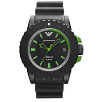 Men's Black Rubber Strap Emporio Armani Watch AR6102