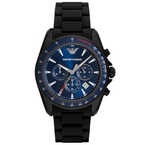 Men's Black Rubber Chronograph Strap Emporio Armani Watch AR6121