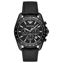 Men's Black Fabric Strap Chronograph Emporio Armani Watch AR6131