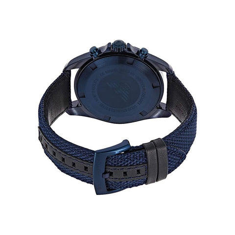Men's Blue Fabric Chronograph Strap Emporio Armani Watch AR6132