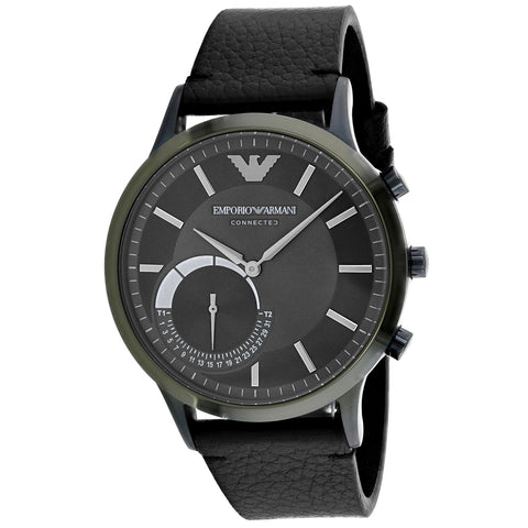 Men's Black Connected Leather Analogue Emporio Armani Watch ART3021