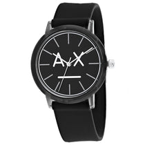 Ladies Black Classic Rubber Analogue Armani Exchange Watch AX5556