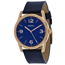 Men's Blue Ledger Leather Analogue Fossil Watch BQ2306