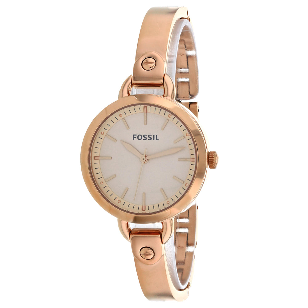 Ladies Rose Gold Classic Stainless Steel Analogue Fossil Watch BQ3026