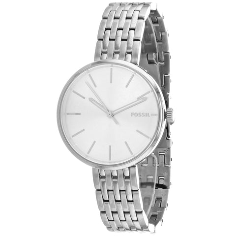 Ladies Silver Hutton Stainless Steel Analogue Fossil Watch BQ3465
