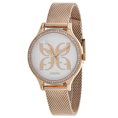 Ladies Rose Gold Laney Stainless Steel Analogue Fossil Watch BQ3571