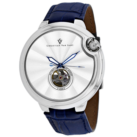 Men's Blue Propeller Leather Analogue Christian Van Sant Watch CV0141-BL