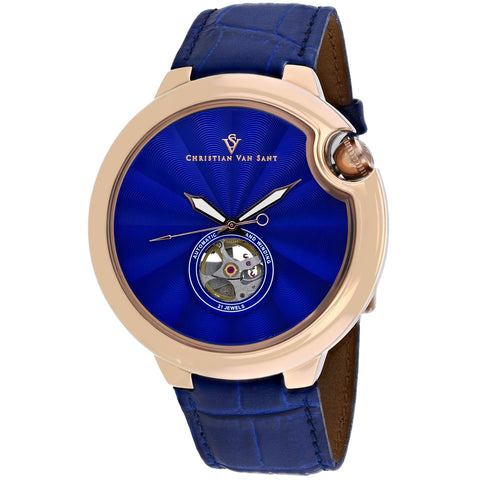 Men's Blue Cyclone Automatic Leather Analogue Christian Van Sant Watch CV0143