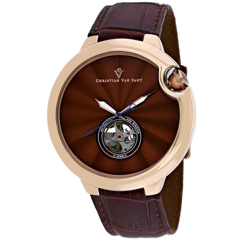 Men's Brown Cyclone Automatic Leather Analogue Christian Van Sant Watch CV0144