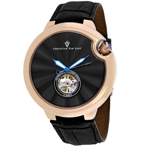 Men's Black Cyclone Automatic Leather Analogue Christian Van Sant Watch CV0147