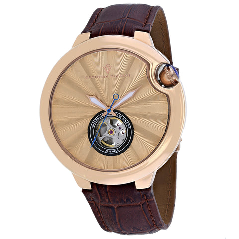 Men's Brown Cyclone Automatic Leather Analogue Christian Van Sant Watch CV0148