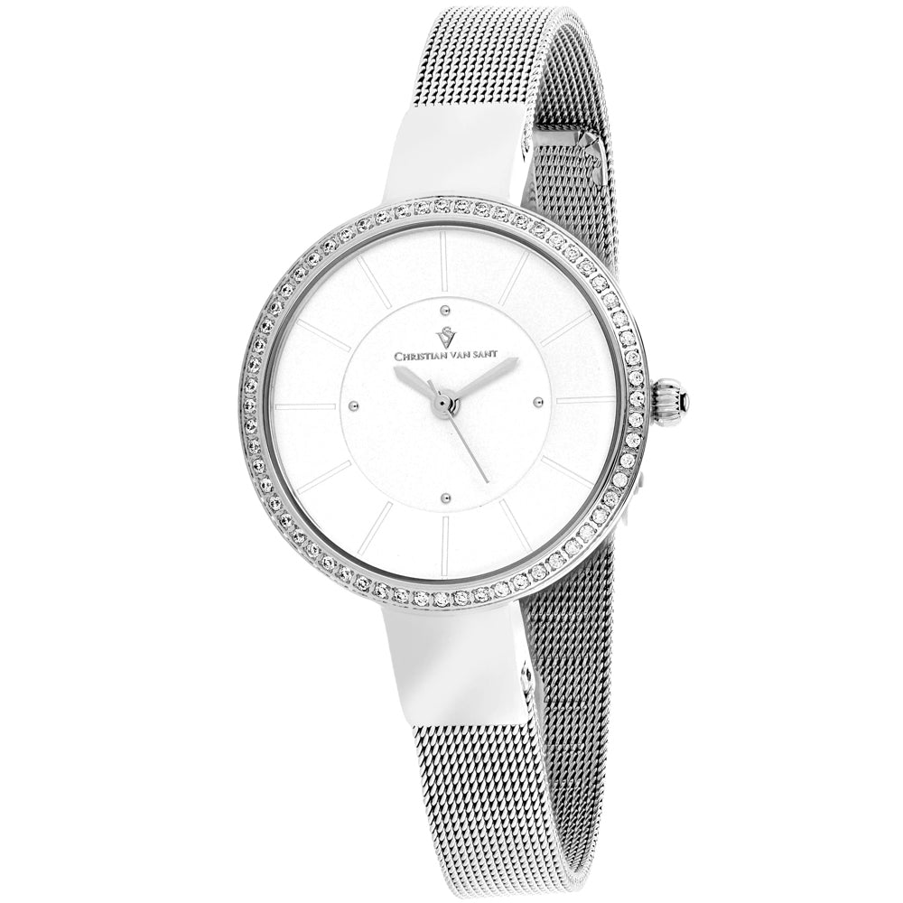 Ladies Silver Reign Stainless Steel Analogue Christian Van Sant Watch CV0220